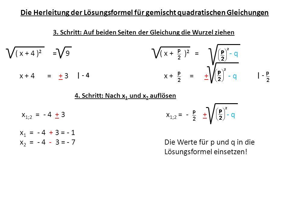 Die Herleitung der Lösungsformel für gemischt quadratischen Gleichungen ( x + 4 )² = 9( x + )² = - q 3. Schritt: Auf beiden Seiten der Gleichung die W