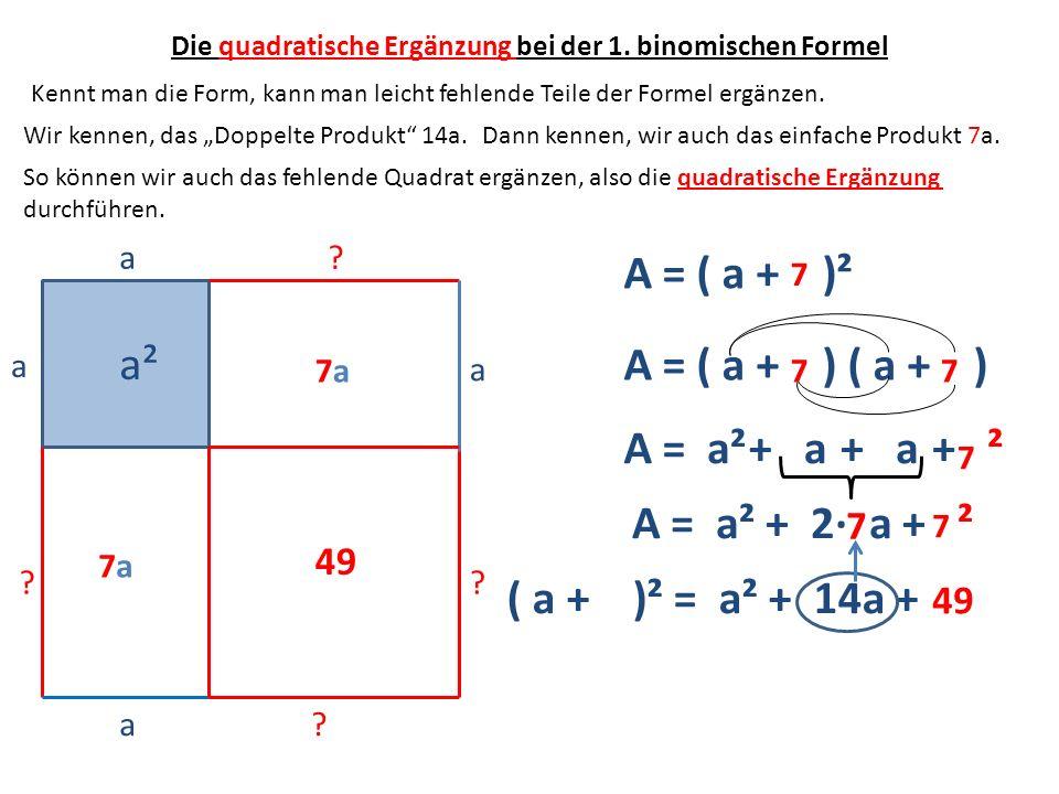 a a a² ? ? a? ? a A = ( a + )² A = ( a + ) ( a + ) A =a²+ a + ² A = a² + 2 a + ² ( a + )² = a² + 14a + Kennt man die Form, kann man leicht fehlende Te