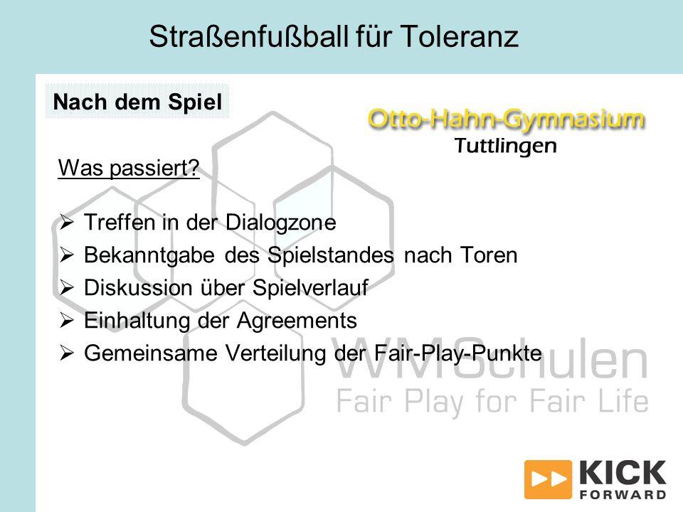Treffen in der Dialogzone Bekanntgabe des Spielstandes nach Toren Diskussion über Spielverlauf Einhaltung der Agreements Gemeinsame Verteilung der Fai