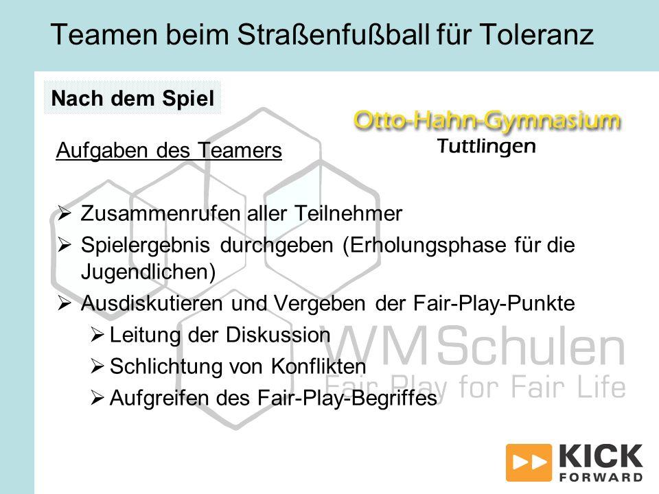 Teamen beim Straßenfußball für Toleranz Aufgaben des Teamers Zusammenrufen aller Teilnehmer Spielergebnis durchgeben (Erholungsphase für die Jugendlic