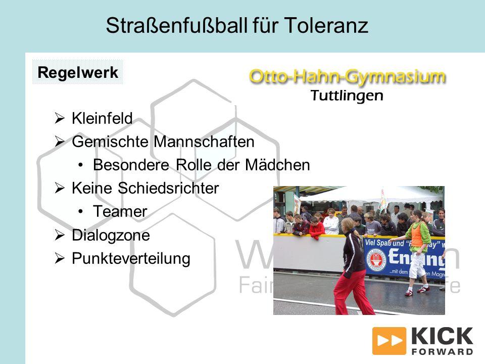 Kleinfeld Gemischte Mannschaften Besondere Rolle der Mädchen Keine Schiedsrichter Teamer Dialogzone Punkteverteilung Regelwerk