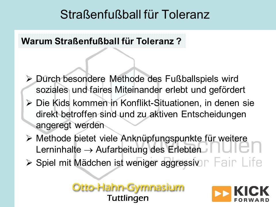 Durch besondere Methode des Fußballspiels wird soziales und faires Miteinander erlebt und gefördert Die Kids kommen in Konflikt-Situationen, in denen