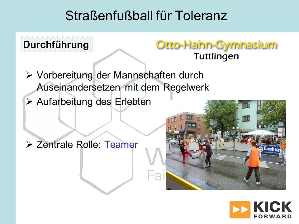 Vorbereitung der Mannschaften durch Auseinandersetzen mit dem Regelwerk Aufarbeitung des Erlebten Zentrale Rolle: Teamer Straßenfußball für Toleranz D