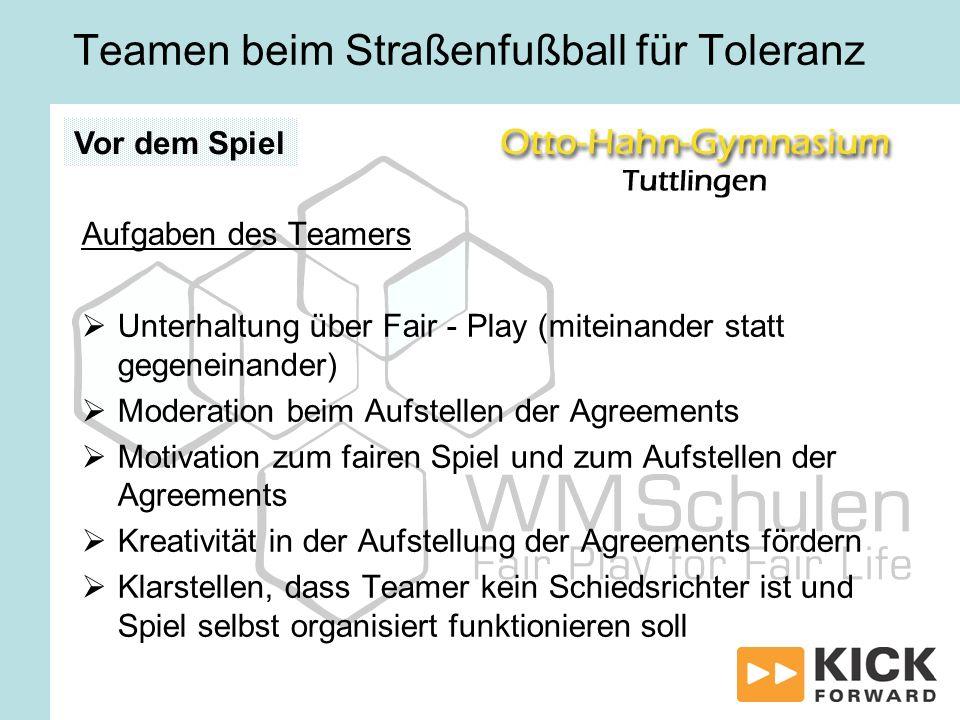 Teamen beim Straßenfußball für Toleranz Aufgaben des Teamers Unterhaltung über Fair - Play (miteinander statt gegeneinander) Moderation beim Aufstelle