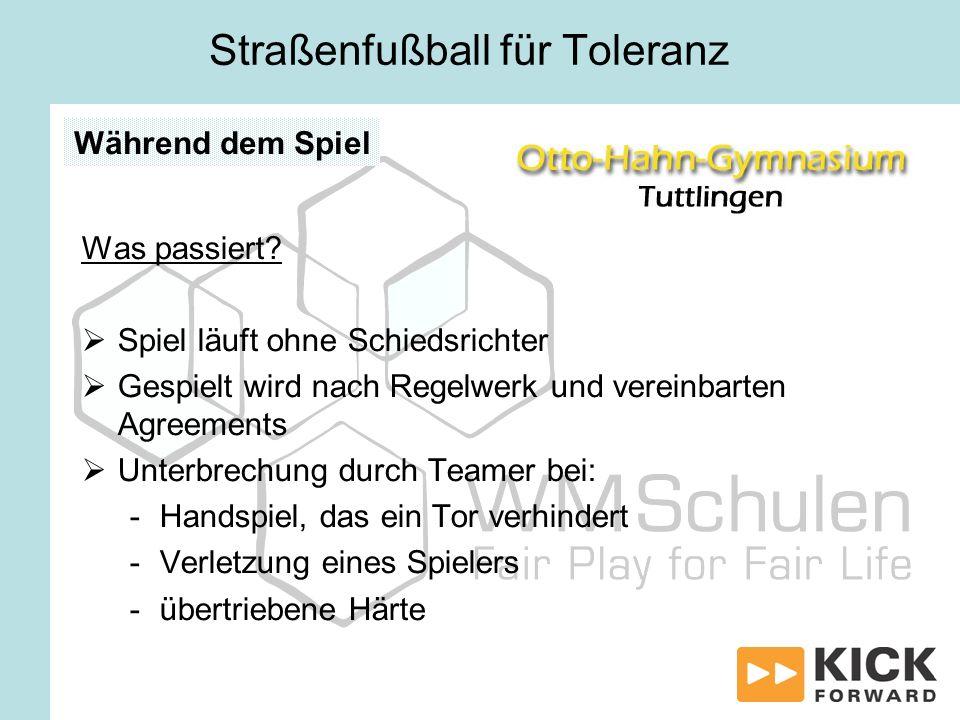 Straßenfußball für Toleranz Was passiert? Spiel läuft ohne Schiedsrichter Gespielt wird nach Regelwerk und vereinbarten Agreements Unterbrechung durch