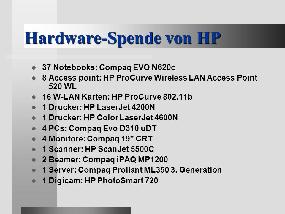 Hardware-Spende von HP 37 Notebooks: Compaq EVO N620c 8 Access point: HP ProCurve Wireless LAN Access Point 520 WL 16 W-LAN Karten: HP ProCurve 802.11b 1 Drucker: HP LaserJet 4200N 1 Drucker: HP Color LaserJet 4600N 4 PCs: Compaq Evo D310 uDT 4 Monitore: Compaq 19 CRT 1 Scanner: HP ScanJet 5500C 2 Beamer: Compaq iPAQ MP1200 1 Server: Compaq Proliant ML350 3.
