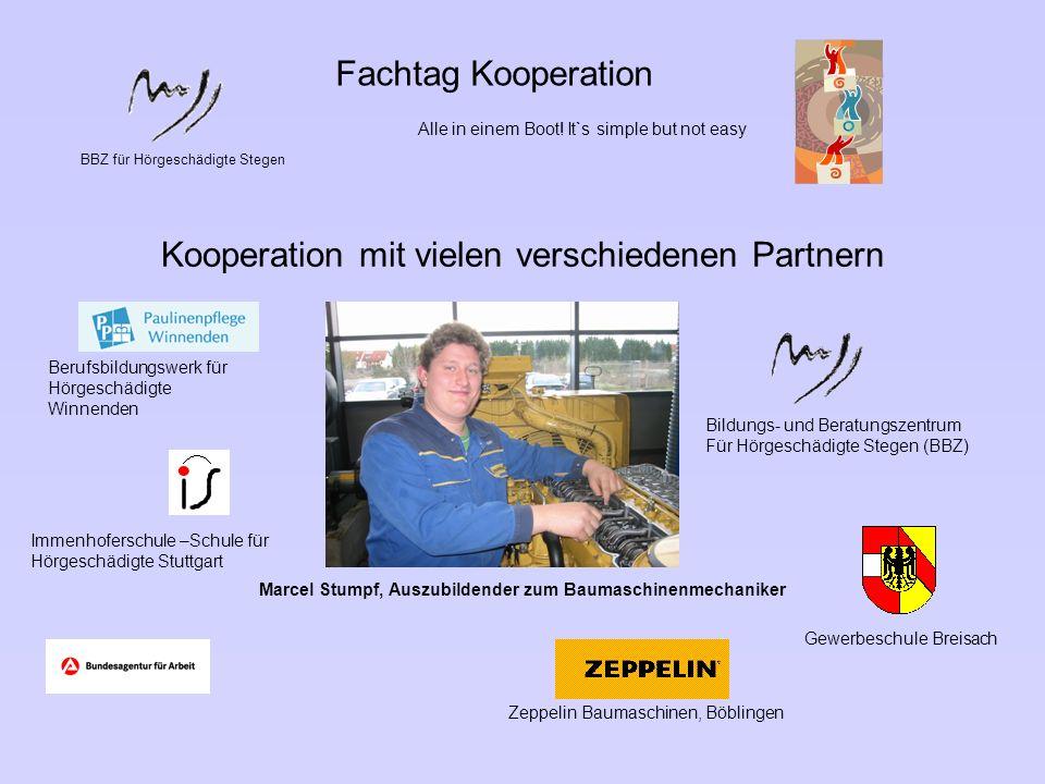 BBZ für Hörgeschädigte Stegen Fachtag Kooperation Alle in einem Boot! It`s simple but not easy Kooperation mit vielen verschiedenen Partnern Marcel St