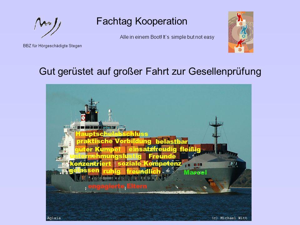 BBZ für Hörgeschädigte Stegen Fachtag Kooperation Alle in einem Boot! It`s simple but not easy Gut gerüstet auf großer Fahrt zur Gesellenprüfung