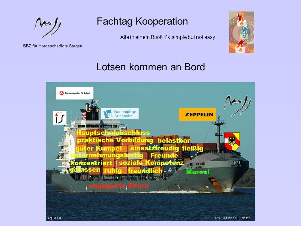BBZ für Hörgeschädigte Stegen Fachtag Kooperation Alle in einem Boot! It`s simple but not easy Lotsen kommen an Bord