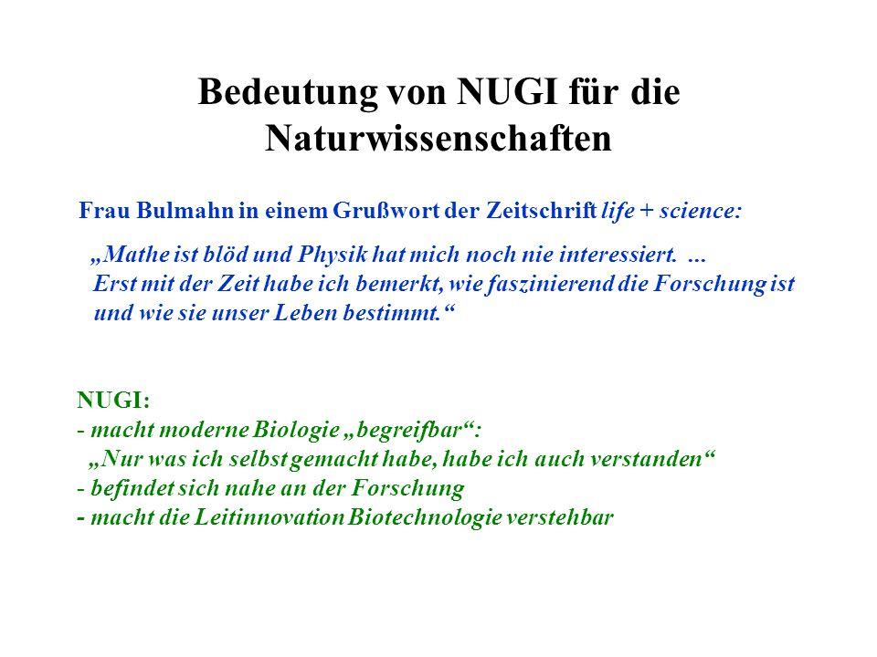 Bedeutung von NUGI für die Naturwissenschaften Frau Bulmahn in einem Grußwort der Zeitschrift life + science: Mathe ist blöd und Physik hat mich noch nie interessiert....
