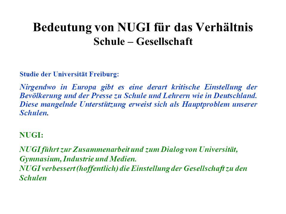 Bedeutung von NUGI für das Verhältnis Schule – Gesellschaft Studie der Universität Freiburg: Nirgendwo in Europa gibt es eine derart kritische Einstellung der Bevölkerung und der Presse zu Schule und Lehrern wie in Deutschland.