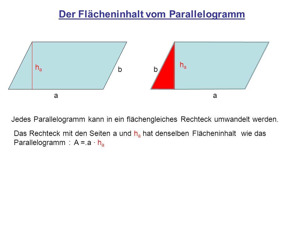 Der Flächeninhalt vom Parallelogramm Jedes Parallelogramm kann in ein flächengleiches Rechteck umwandelt werden. a b haha a b haha Das Rechteck mit de