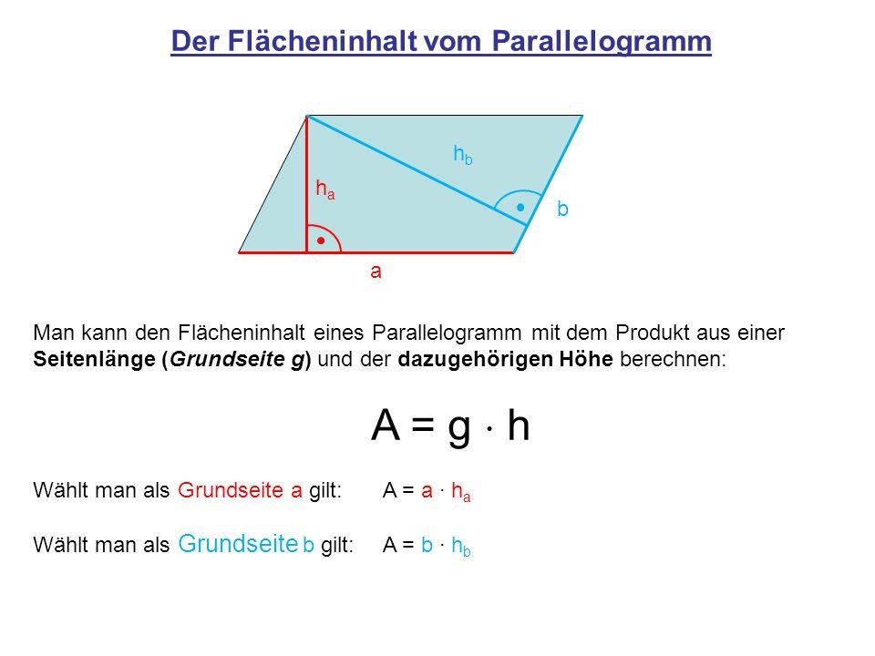 Der Flächeninhalt vom Parallelogramm Man kann den Flächeninhalt eines Parallelogramm mit dem Produkt aus einer Seitenlänge (Grundseite g) und der dazu