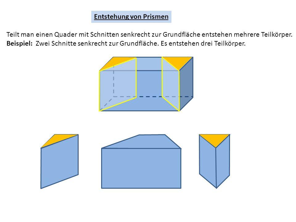 Entstehung von Prismen Teilt man einen Quader mit Schnitten senkrecht zur Grundfläche entstehen mehrere Teilkörper.