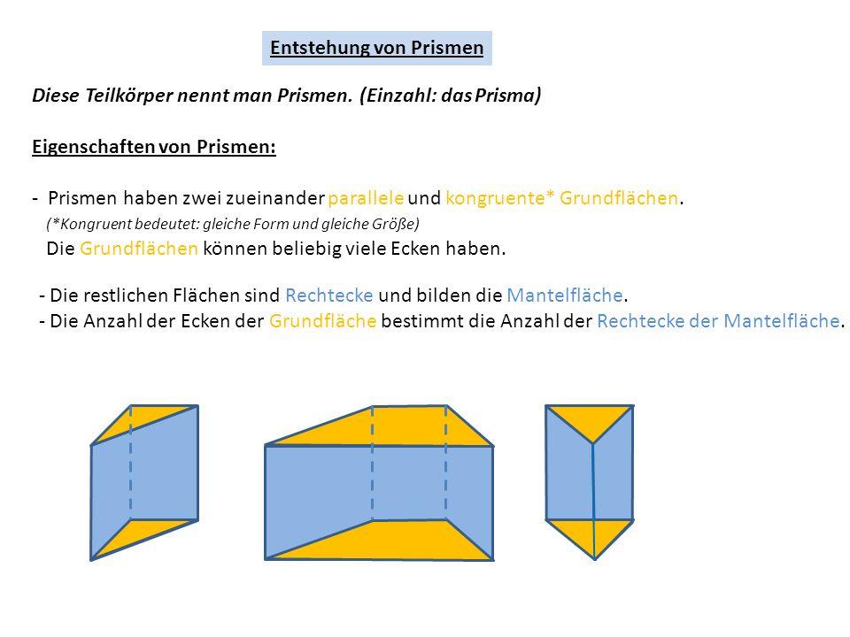 Entstehung von Prismen Diese Teilkörper nennt man Prismen.