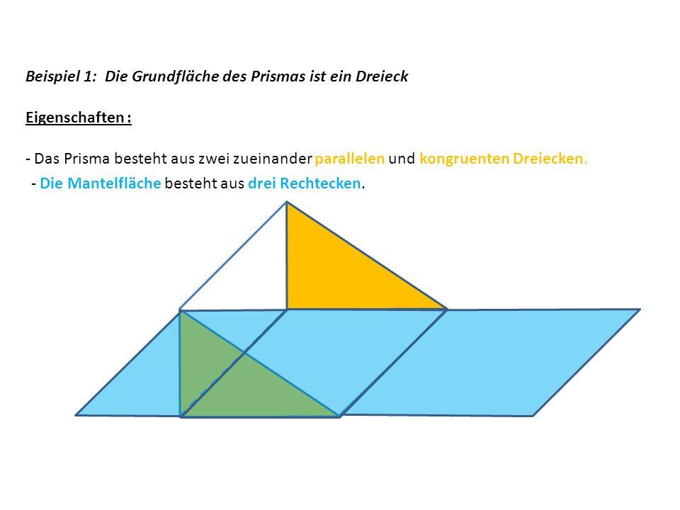 Beispiel 1: Die Grundfläche des Prismas ist ein Dreieck Eigenschaften : - Das Prisma besteht aus zwei zueinander parallelen und kongruenten Dreiecken.