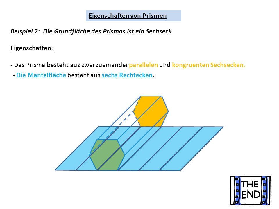 Eigenschaften von Prismen Beispiel 2: Die Grundfläche des Prismas ist ein Sechseck Eigenschaften : - Das Prisma besteht aus zwei zueinander parallelen und kongruenten Sechsecken.