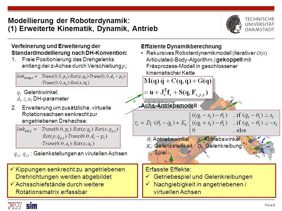 Folie 9 Modellierung der Roboterdynamik: (1) Erweiterte Kinematik, Dynamik, Antrieb Verfeinerung und Erweiterung der Standardmodellierung nach DH-Konv