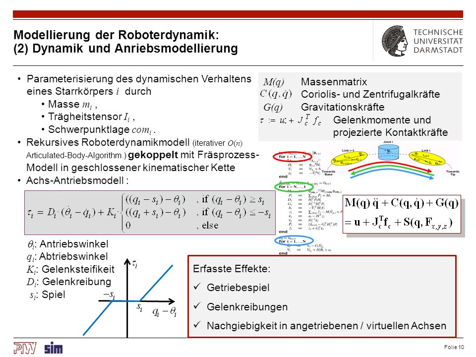 Folie 10 Modellierung der Roboterdynamik: (2) Dynamik und Anriebsmodellierung Parameterisierung des dynamischen Verhaltens eines Starrkörpers i durch