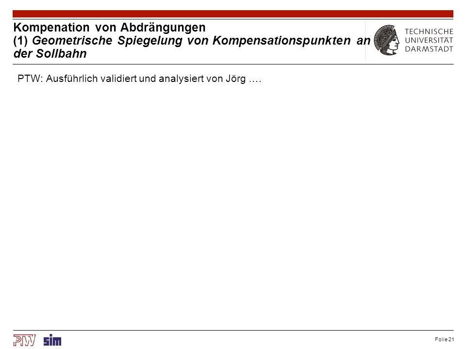 Folie 21 Kompenation von Abdrängungen (1) Geometrische Spiegelung von Kompensationspunkten an der Sollbahn PTW: Ausführlich validiert und analysiert v