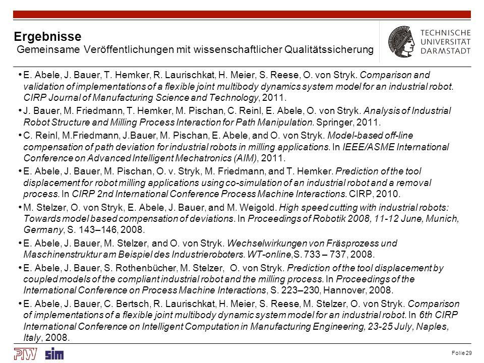Folie 29 Ergebnisse Gemeinsame Veröffentlichungen mit wissenschaftlicher Qualitätssicherung E. Abele, J. Bauer, T. Hemker, R. Laurischkat, H. Meier, S