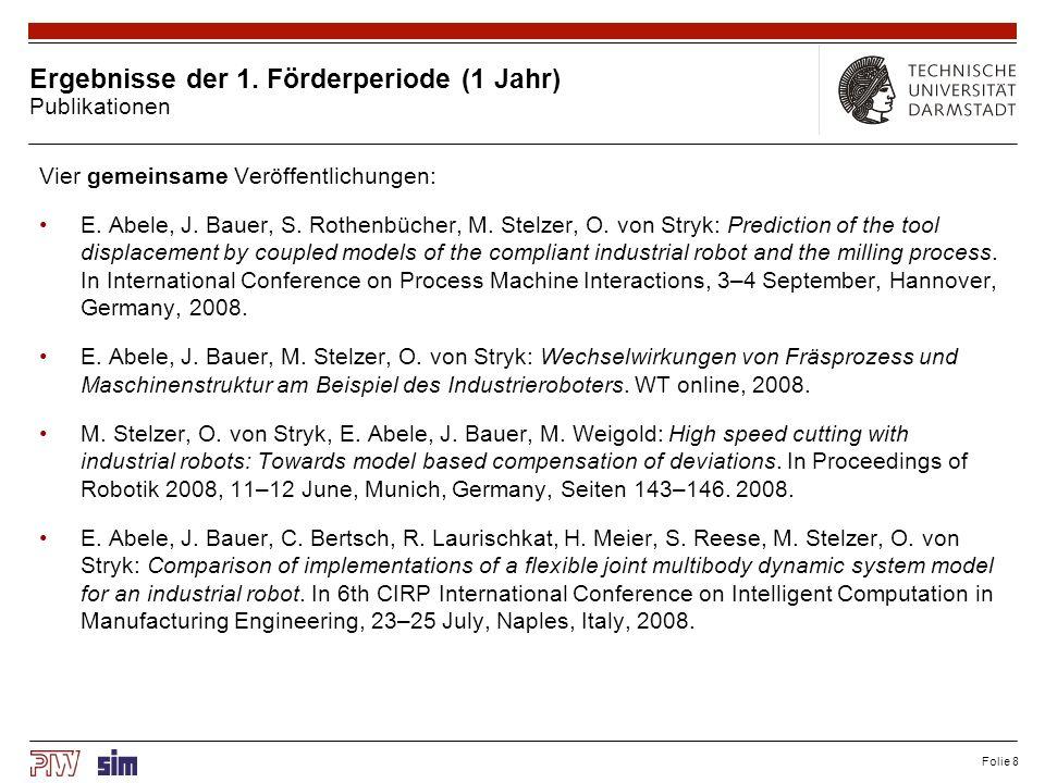 Folie 8 Ergebnisse der 1. Förderperiode (1 Jahr) Publikationen Vier gemeinsame Veröffentlichungen: E. Abele, J. Bauer, S. Rothenbücher, M. Stelzer, O.