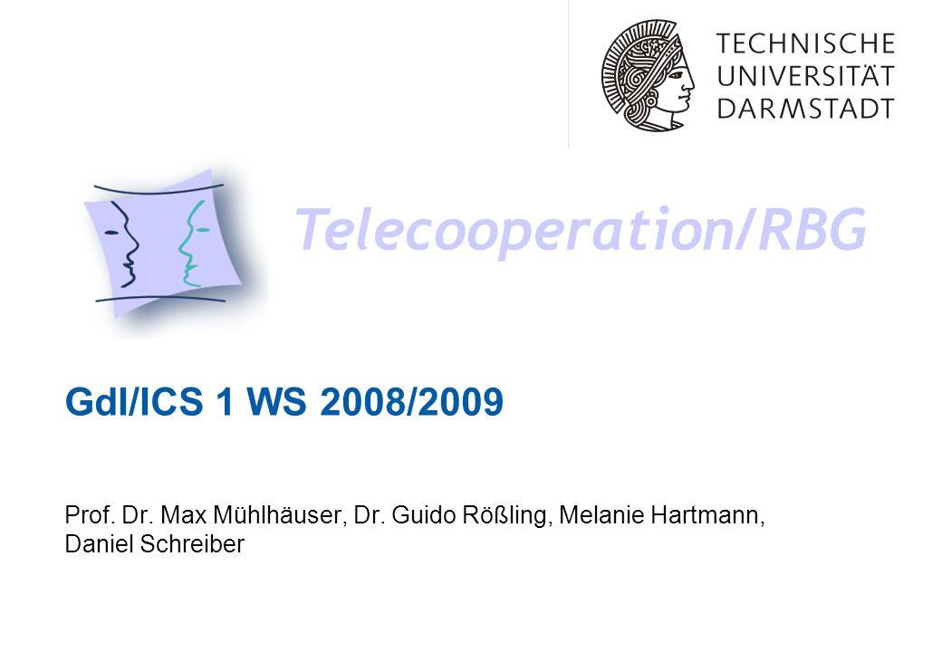 GdI/ICS 1 WS 2008/2009 Telecooperation/RBG Prof. Dr. Max Mühlhäuser, Dr. Guido Rößling, Melanie Hartmann, Daniel Schreiber