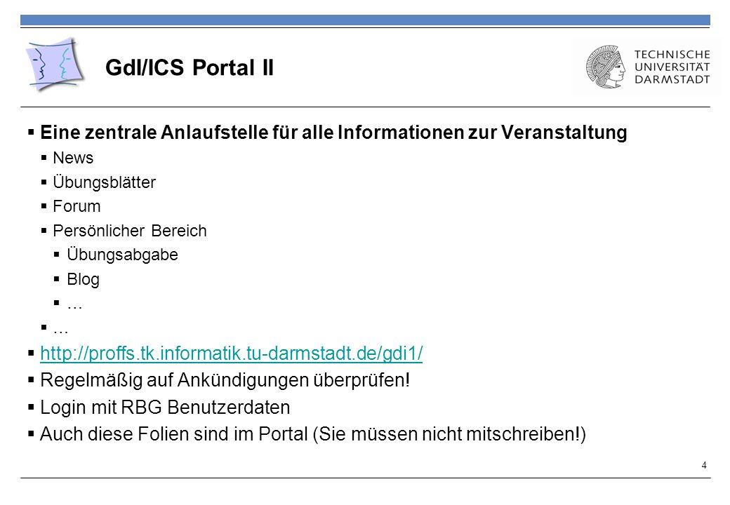 GdI/ICS Portal II Eine zentrale Anlaufstelle für alle Informationen zur Veranstaltung News Übungsblätter Forum Persönlicher Bereich Übungsabgabe Blog