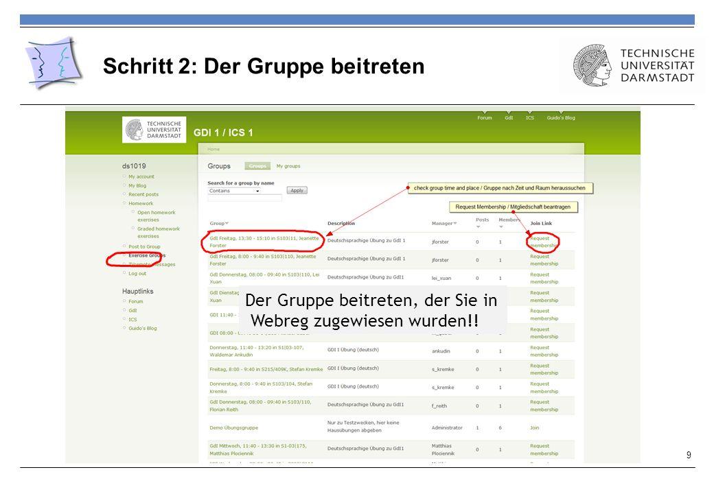 Schritt 2: Der Gruppe beitreten 9 Der Gruppe beitreten, der Sie in Webreg zugewiesen wurden!!