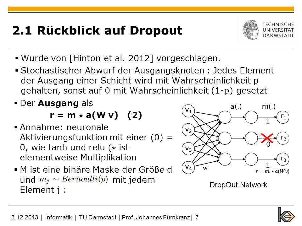 2.1 Rückblick auf Dropout Wurde von [Hinton et al. 2012] vorgeschlagen. Stochastischer Abwurf der Ausgangsknoten : Jedes Element der Ausgang einer Sch