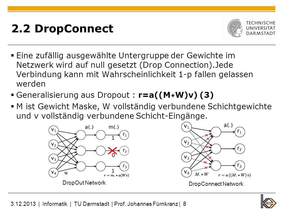 2.2 DropConnect Eine zufällig ausgewählte Untergruppe der Gewichte im Netzwerk wird auf null gesetzt (Drop Connection).Jede Verbindung kann mit Wahrsc