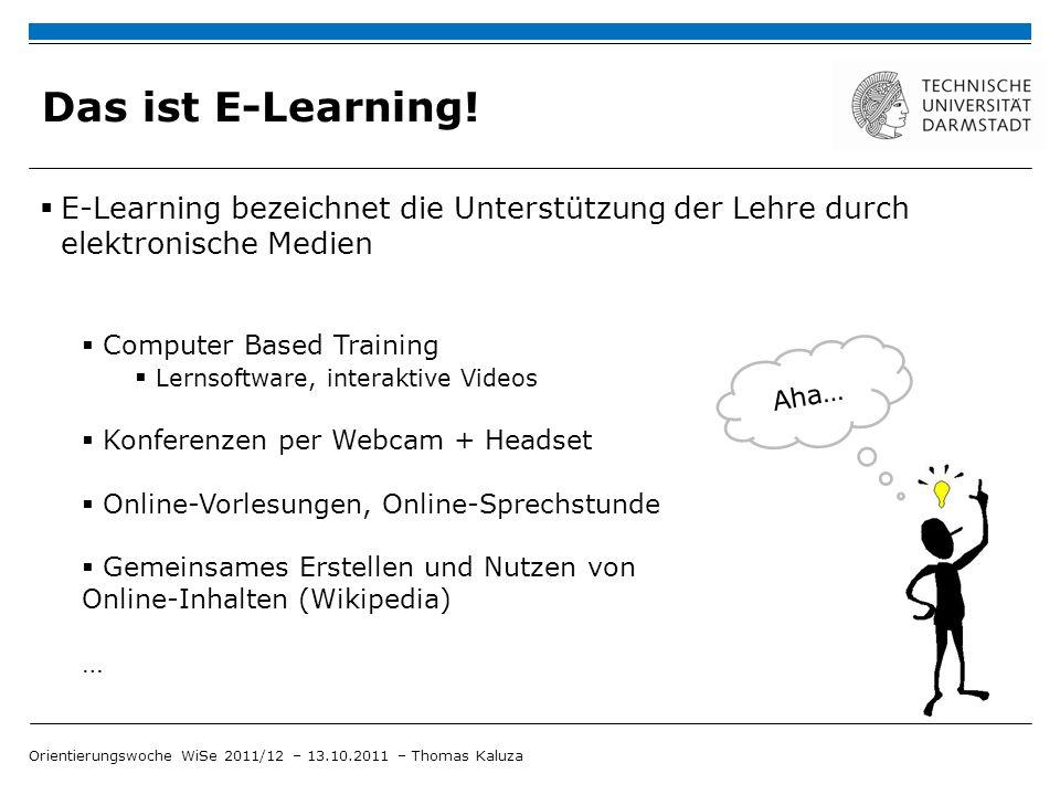 Das ist E-Learning! E-Learning bezeichnet die Unterstützung der Lehre durch elektronische Medien Aha… Computer Based Training Lernsoftware, interaktiv