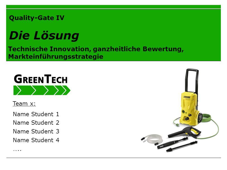 Quality-Gate IV Die Lösung Technische Innovation, ganzheitliche Bewertung, Markteinführungsstrategie Team x: Name Student 1 Name Student 2 Name Studen