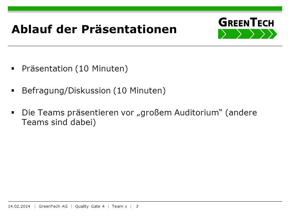 3 Ablauf der Präsentationen Präsentation (10 Minuten) Befragung/Diskussion (10 Minuten) Die Teams präsentieren vor großem Auditorium (andere Teams sin