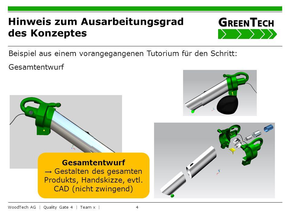 4 Hinweis zum Ausarbeitungsgrad des Konzeptes WoodTech AG | Quality Gate 4 | Team x | Beispiel aus einem vorangegangenen Tutorium für den Schritt: Ges