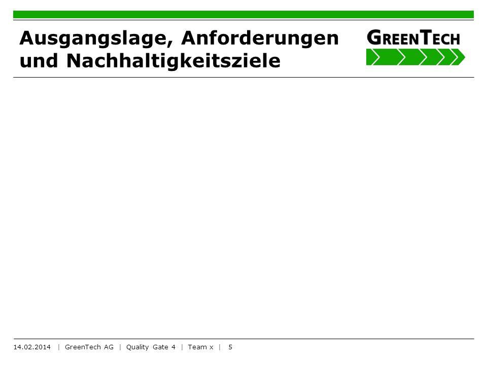 5 Ausgangslage, Anforderungen und Nachhaltigkeitsziele 14.02.2014 | GreenTech AG | Quality Gate 4 | Team x |