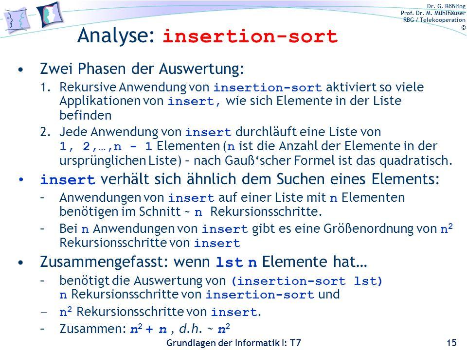 Dr. G. Rößling Prof. Dr. M. Mühlhäuser RBG / Telekooperation © Grundlagen der Informatik I: T7 Analyse: insertion-sort Zwei Phasen der Auswertung: 1.R
