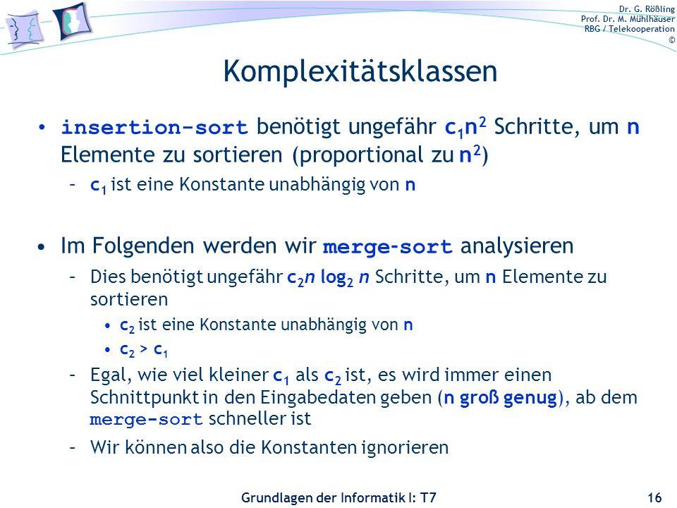 Dr. G. Rößling Prof. Dr. M. Mühlhäuser RBG / Telekooperation © Grundlagen der Informatik I: T7 Komplexitätsklassen insertion-sort benötigt ungefähr c