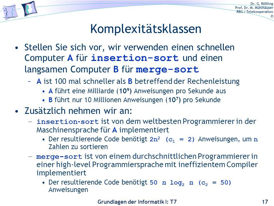 Dr. G. Rößling Prof. Dr. M. Mühlhäuser RBG / Telekooperation © Grundlagen der Informatik I: T7 Komplexitätsklassen Stellen Sie sich vor, wir verwenden