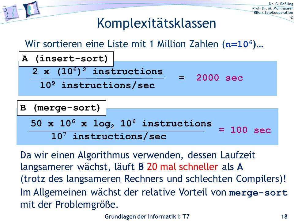 Dr. G. Rößling Prof. Dr. M. Mühlhäuser RBG / Telekooperation © Grundlagen der Informatik I: T7 Komplexitätsklassen Wir sortieren eine Liste mit 1 Mill