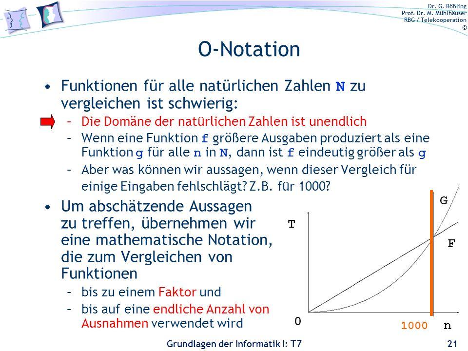 Dr. G. Rößling Prof. Dr. M. Mühlhäuser RBG / Telekooperation © Grundlagen der Informatik I: T7 O-Notation Funktionen f ü r alle nat ü rlichen Zahlen N
