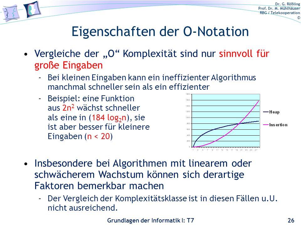 Dr. G. Rößling Prof. Dr. M. Mühlhäuser RBG / Telekooperation © Grundlagen der Informatik I: T7 Eigenschaften der O-Notation 26 Vergleiche der O Komple