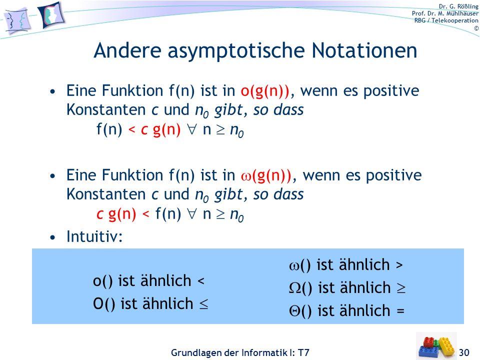 Dr. G. Rößling Prof. Dr. M. Mühlhäuser RBG / Telekooperation © Grundlagen der Informatik I: T7 Andere asymptotische Notationen Eine Funktion f(n) ist