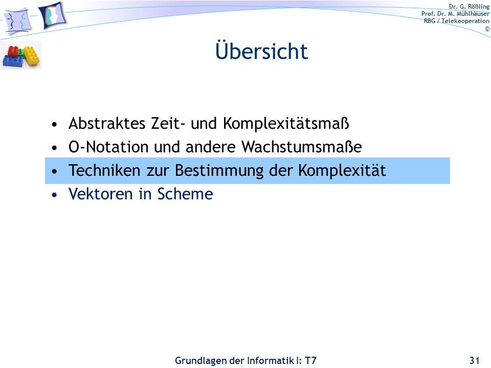 Dr. G. Rößling Prof. Dr. M. Mühlhäuser RBG / Telekooperation © Grundlagen der Informatik I: T7 Übersicht 31 Abstraktes Zeit- und Komplexitätsmaß O-Not