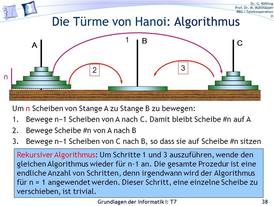 Dr. G. Rößling Prof. Dr. M. Mühlhäuser RBG / Telekooperation © Grundlagen der Informatik I: T7 Die Türme von Hanoi: Algorithmus 38 1 2 3 Um n Scheiben