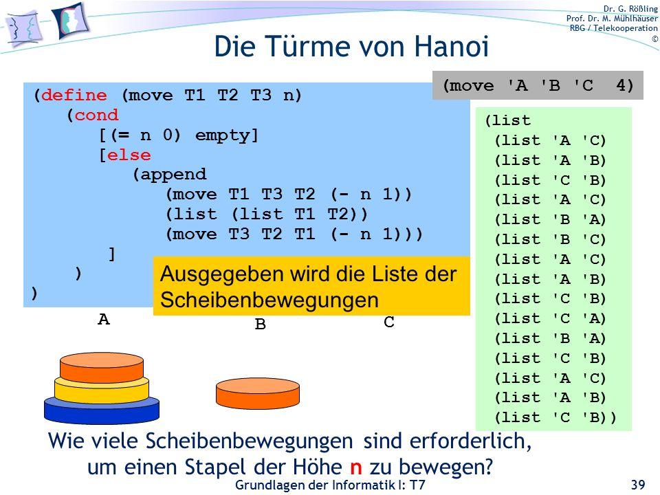Dr. G. Rößling Prof. Dr. M. Mühlhäuser RBG / Telekooperation © Grundlagen der Informatik I: T7 Die Türme von Hanoi 39 (define (move T1 T2 T3 n) (cond