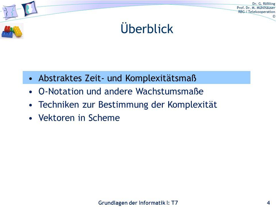 Dr. G. Rößling Prof. Dr. M. Mühlhäuser RBG / Telekooperation © Grundlagen der Informatik I: T7 Überblick 4 Abstraktes Zeit- und Komplexitätsmaß O-Nota