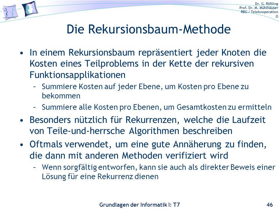 Dr. G. Rößling Prof. Dr. M. Mühlhäuser RBG / Telekooperation © Grundlagen der Informatik I: T7 Die Rekursionsbaum-Methode In einem Rekursionsbaum repr