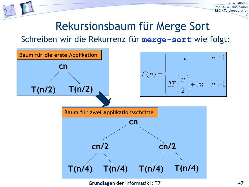 Dr. G. Rößling Prof. Dr. M. Mühlhäuser RBG / Telekooperation © Grundlagen der Informatik I: T7 Rekursionsbaum für Merge Sort Schreiben wir die Rekurre