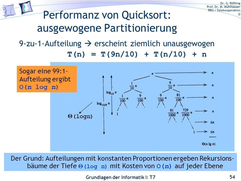 Dr. G. Rößling Prof. Dr. M. Mühlhäuser RBG / Telekooperation © Grundlagen der Informatik I: T7 Performanz von Quicksort: ausgewogene Partitionierung 9